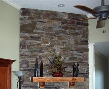 Fireplace: Drystack synthetic stone.