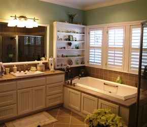 Tile counters and backsplash with beaded flat panel cabinet doors