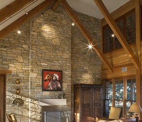 Family Room: Dry stack stone blend consisting of 4 to 5 types of stones.
