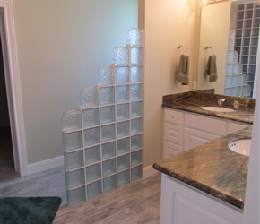 Wood like tile; Glass block IceScape; Granite countertops