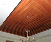 Dining:  Cathedral ceiling with stepped up cherry wood.