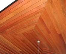 Dining:  Closer detail of stepped Cherry wood ceiling.